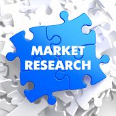 stock photo of swot analysis  - Market Research on Blue Puzzle on White Background - JPG