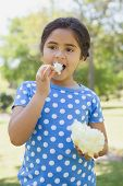stock photo of candy cotton  - Portrait of a beautiful little girl eating cotton candy at the park - JPG