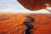 stock photo of antelope  - Magnificent lake Powell  and canyon Antelope on a sunset photographed from the plane - JPG