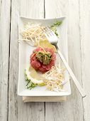 foto of tartar  - tuna tartar with truffle and soy sprouts - JPG
