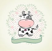 image of calf cow  - Cute babies hand draw card  with cow - JPG