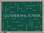 Geothermal Power Word Cloud Concept On A Blackboard
