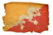 Bhutan Flag Old, Isolated On White Background