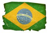Brazil Flag Old, Isolated On White Background