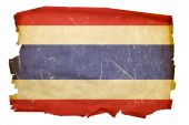 Thailand Flag Old, Isolated On White Background