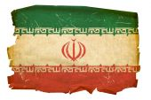 Iran Flag Old, Isolated On White Background.