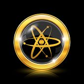 image of neutrons  - Golden shiny icon on black background  - JPG
