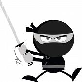 picture of ninja  - Angry Ninja Warrior Jumping With Katana Flat Design In Gray Color  Illustration Isolated on white - JPG