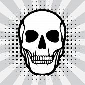 picture of scalping  - Illustration of skull on pop art background - JPG