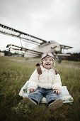 image of bomber jacket  - sweet little baby dreaming of being pilot - JPG