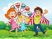 image of hilltop  - Illustration of a happy family at the carnival in the hilltop - JPG