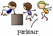 foto of parkour  - Illustration of the stickmen playing parkour on a white background - JPG