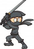 Cartoon ninja holding a sword. Vector clip art illustration with simple gradients. All in a single l