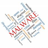 stock photo of malware  - Malware Word Cloud Concept angled with great terms such as trojan virus infection and more - JPG