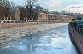 Drifting Ice On The Fontanka River Embankment In St Petersburg