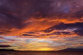 picture of fiery  - Dramatic fiery orange sunset in Siquijor in the Philippines with a mangrove tree silhouetted against the glowing horizon under heavy stormy cloud cover - JPG