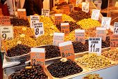Olive fruits on market display in Istanbul, Turkey