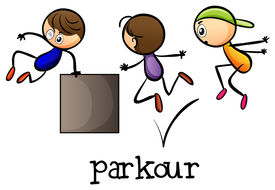 stock photo of parkour  - Illustration of the stickmen playing parkour on a white background - JPG