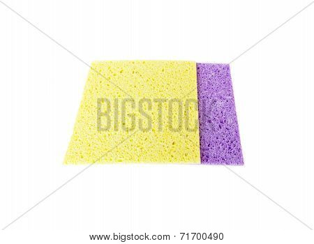 Cellulose Sponge cloth isolated on white background.