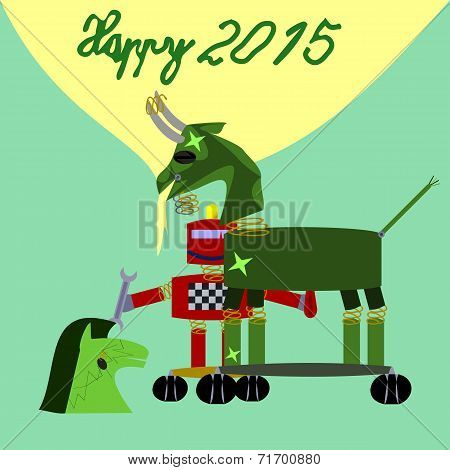 Green goat robot New Year 2015 congrats card