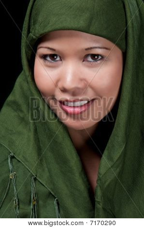 Asiatic Islamic Woman Smiling
