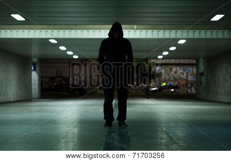 Dangerous Man Walking At Night