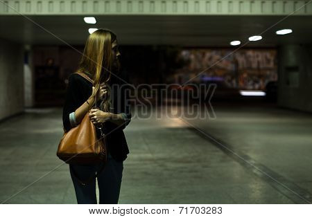 Lonely Woman In The Underpass