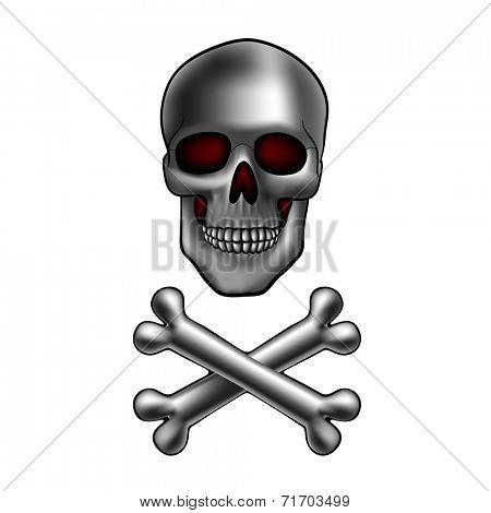 metal skull with crossed bones