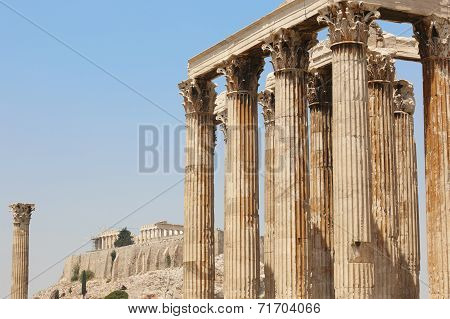 Temple Of Zeus And Acropolis In Athens. Greece