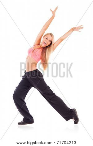 Young happy woman isolated on white.