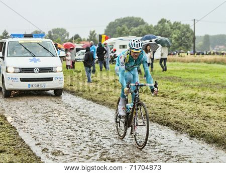 The Cyclist Alessandro Vanotti On A Cobbled Road - Tour De France 2014