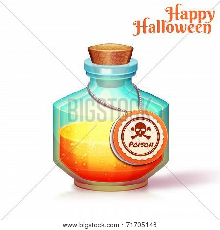 Vector illustration of glass flask with poison