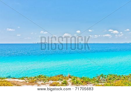 tropical sea and Cancun coastline view from Isla Mujeres