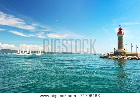 Lighthouse Of St. Tropez. Beautiful Mediterranean Landscape