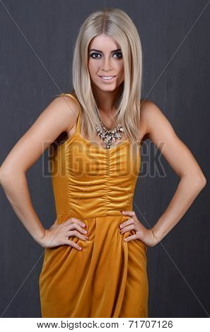 Portrait of attractive caucasian woman blond