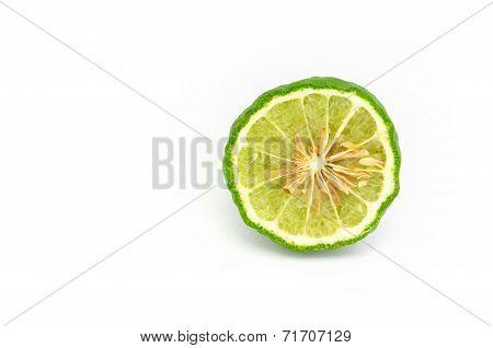 Bergamot (kaffir Lime) On White Background