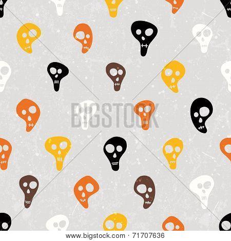 Halloween vector print with skulls funny skulls.