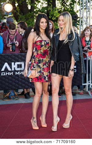 MOSCOW, RUSSIA, May, 13: Natalya Rudova with friend. Premiere of the movie