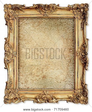 Golden Frame With Empty Cracked Canvas For Your Picture