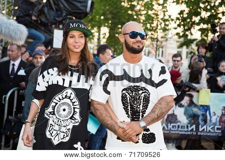MOSCOW, RUSSIA, May, 13: Russian Singer Dzhigan with friend. Premiere of the movie