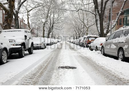 Urban Street On A Snow Day