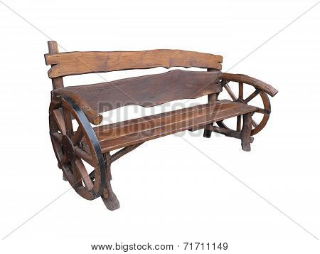 Wooden Handmade Garden Bench With Cart Wheel Decoration Isolated