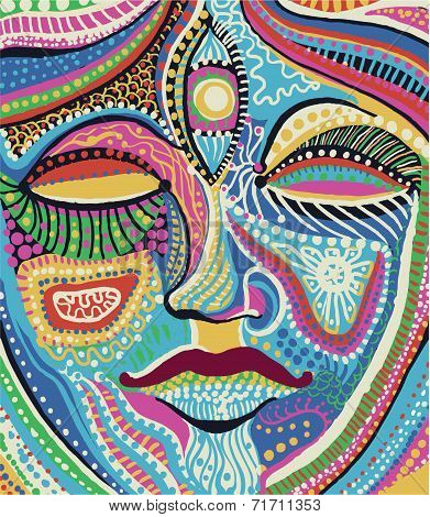 woman face with bright multicolored pattern vector