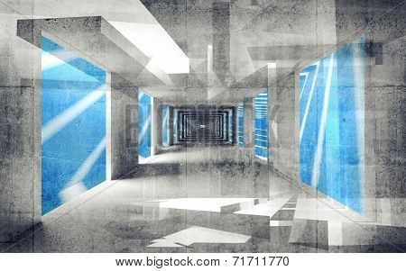 Abstract Concrete 3D Interior Perspective With Grungy Walls