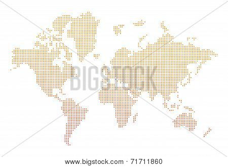 World Map Orange Dots Vector