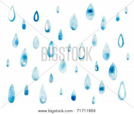 Hand draw aquarelle art paint blue watercolor rain drop