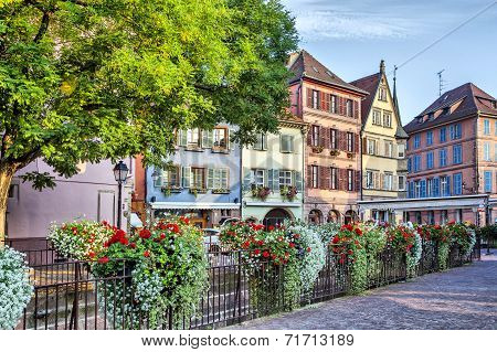 Colorful French Houses Wiht Wlowers In Colmar