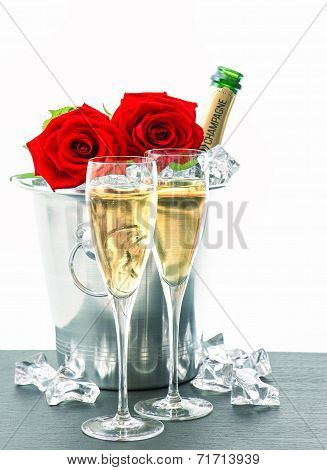 Festive Arrangement With Sparkling Wine And Flowers