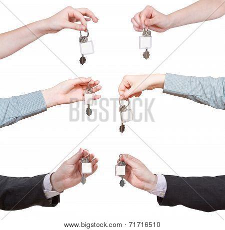 Set Of Hands With Blank Door Key Ring