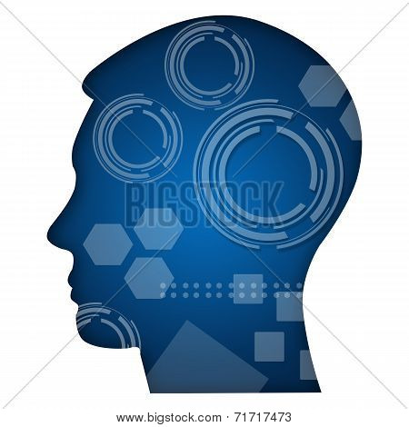 Human Head With Technical Elements